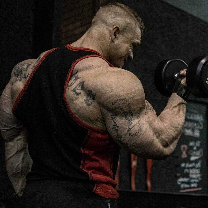 Dallas Mccarver completing a dumbbell bicep curl, showing off his large triceps and delts