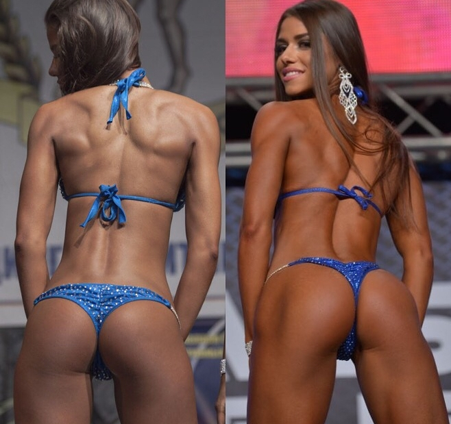Diana Volkova's back transformation on the stage, from already lean,to even better conditioning