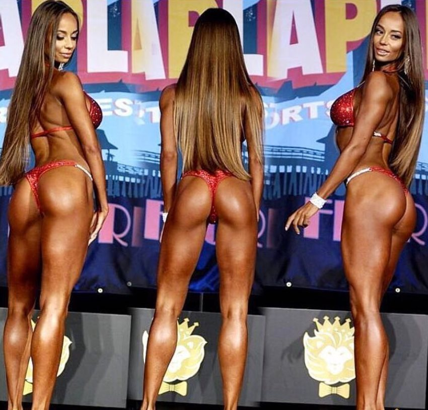 Ekaterina Shokhina in three different poses on the bikini stage, showing her awesome glutes, legs, and arms