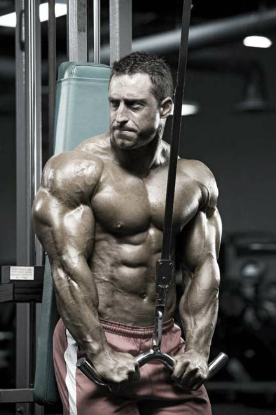Erik Fankhouser completing a tricep pull down in the machine, showing his bulging triceps, chest and delts