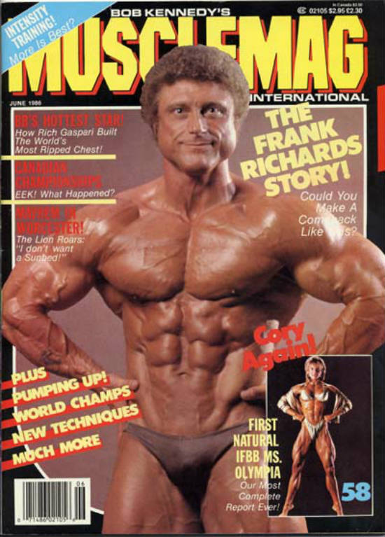 Frank Richards on the front of Bob Kennedy's muscle mag in the 1960's, showing his ripped abs and large arms