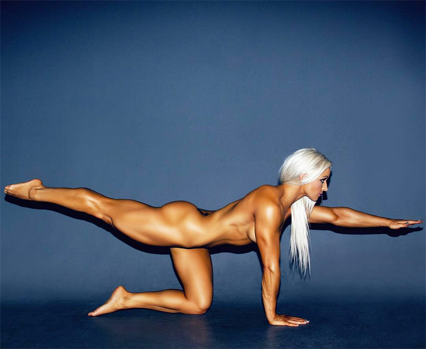 Jade Mead performing Yoga while naked, displaying her muscular development and tone.