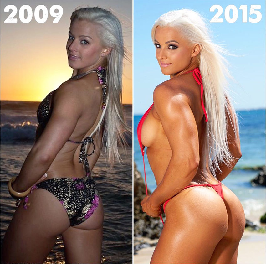 A picture of Jade Mead's transformation from 2009 to 2015, showing the extent of her lean muscle gain and fat loss.