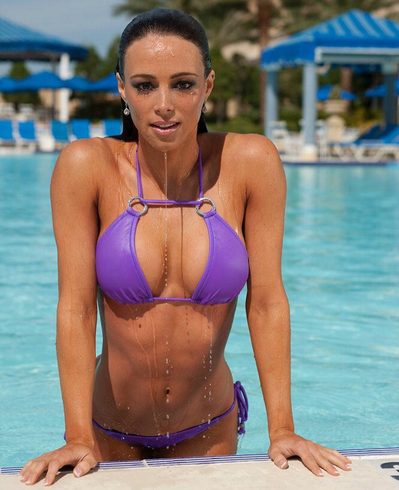 Juliana Daniell coming out of the pool, showing off her toned abs, arms and delts