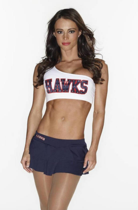 Juliana Daniell in an Atlanta Hawks cheerleaders outfit, showing her toned abs