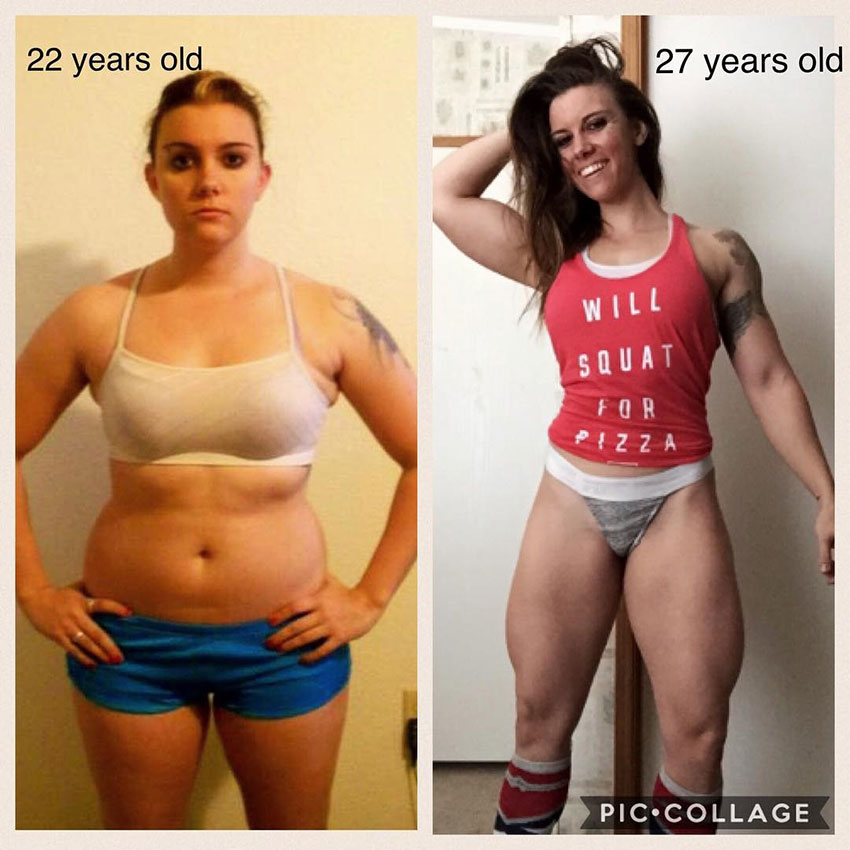 Kristina Moser in two pictures standing side by side. The first one, at the age of 22 looking overweight, the second picture at 27 looking muscular and happy