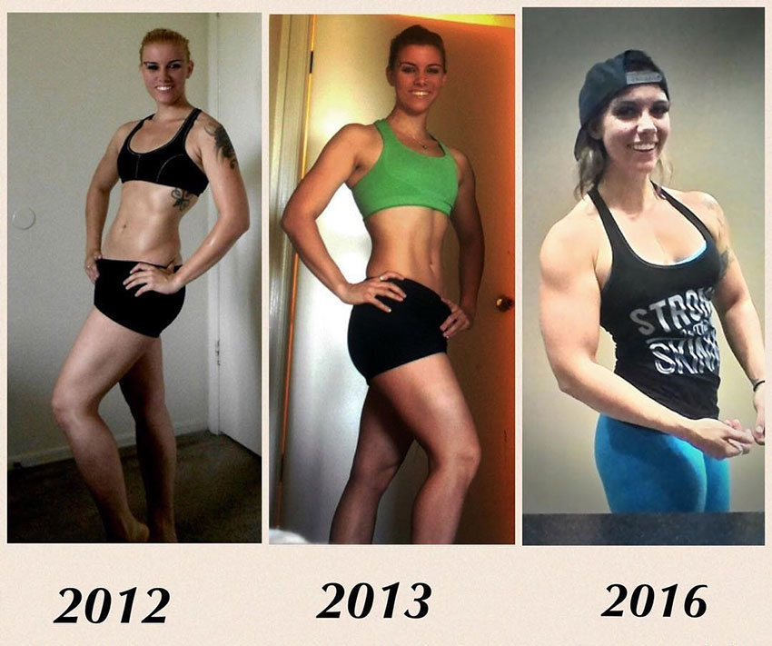 Kristina Moser comparing her body transformation over the years from skinny, to muscular