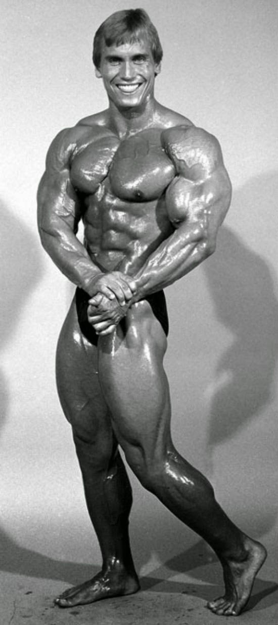 Lance Dreher showing his full physique before a show in the 1980's