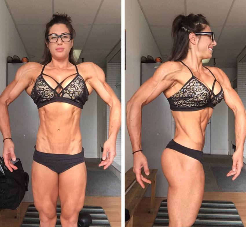 Two side-to-side pictures of Margherita Di Bari in a front lat spread pose, and side pose, flexing her legs, abs, and arms