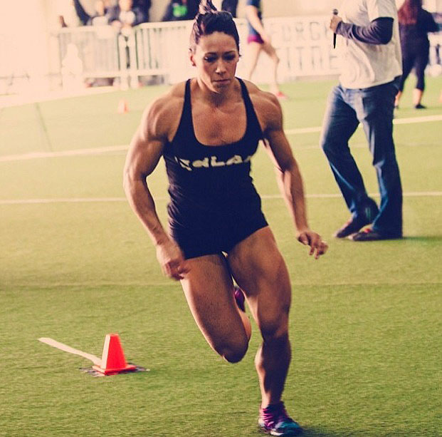 Miranda Oldroyd sprinting in a Crossfit competition