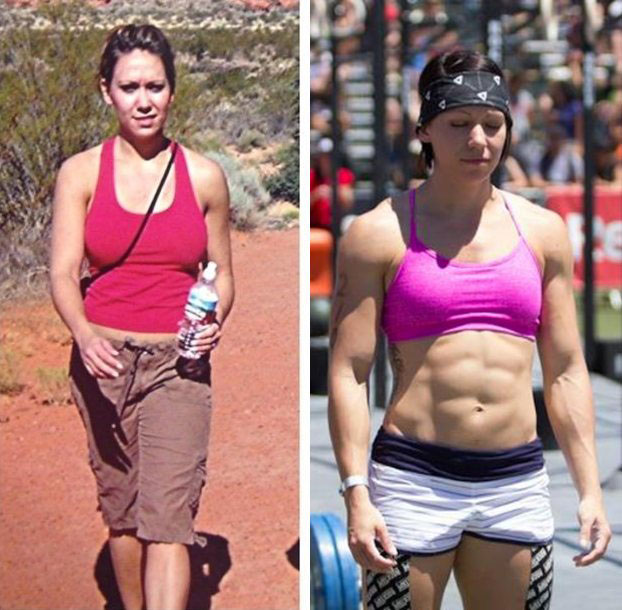 Miranda Oldroyd before and after picture. Going from average health, to incredibly fit and strong