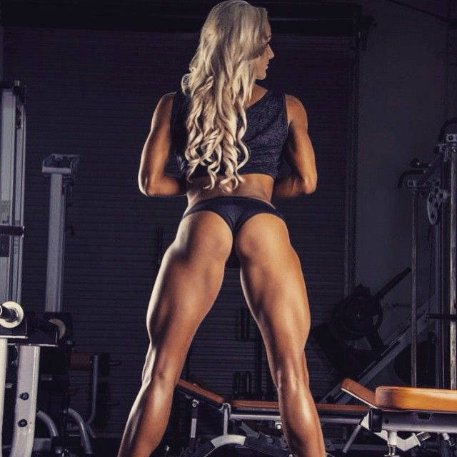 Nina Anderson showing her toned glutes quads and triceps in rear view