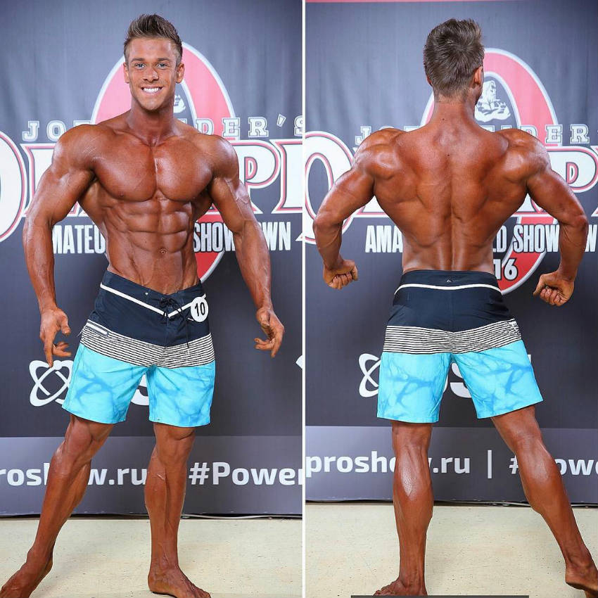 Ondrej Kmostak showing his front and back profile before the Joe Weider competition