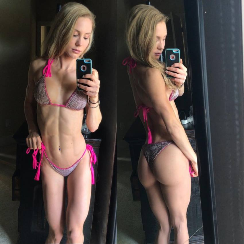 Rachel Scheer in two different poses, taking a selfie of her abs, legs, and awesome glutes