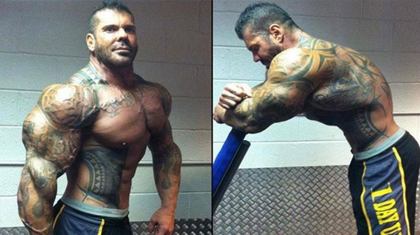 Rich Piana in two different poses, showing is monstrous arms and chest, as well as showing his impressive vacuum