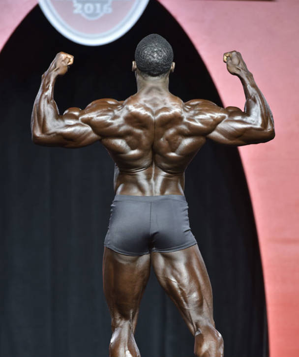 Robert Timms showing his large back at a competition
