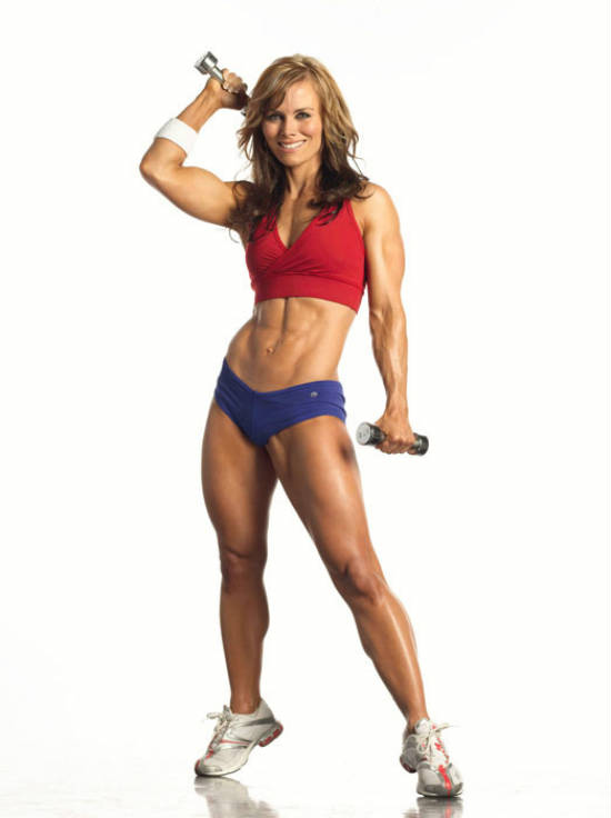 Allison Ethier lifting small dumbbells, showing her toned abs and legs