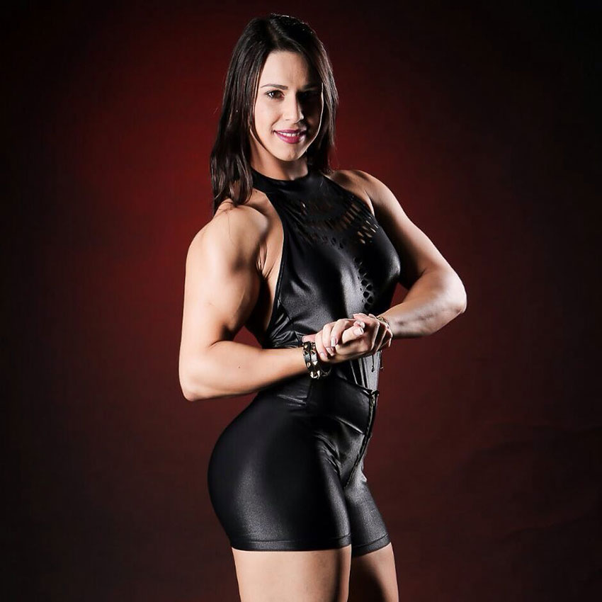 Jessica Felipe posing for teh camera in a professional photography photo-shoot looking strong and lean