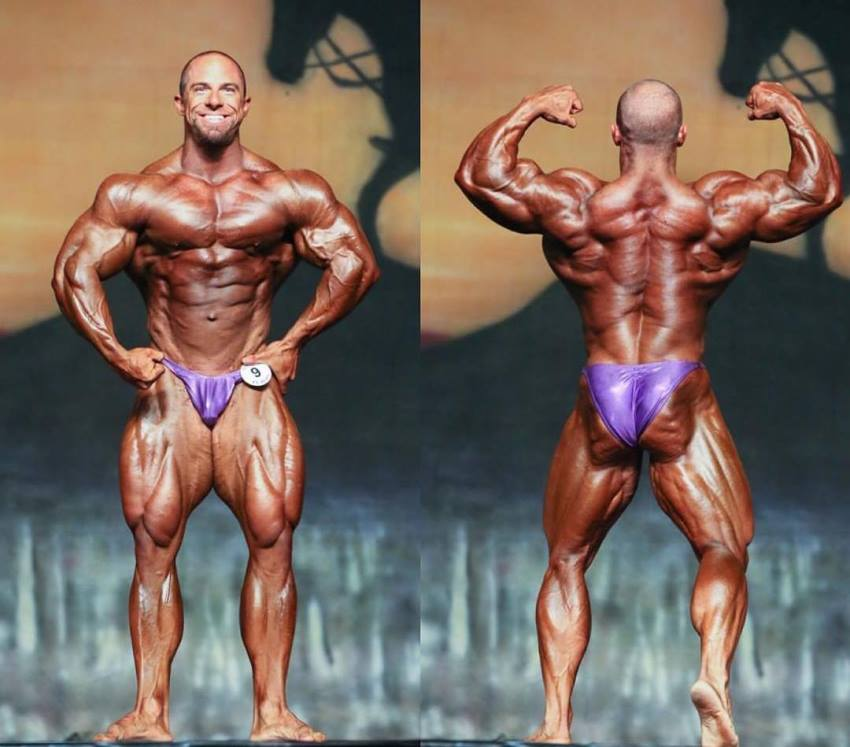 John Jewett in two different poses on the bodybuilding stage, one is front most muscular, the other one is back double biceps, looking extremely ripped and big in both poses