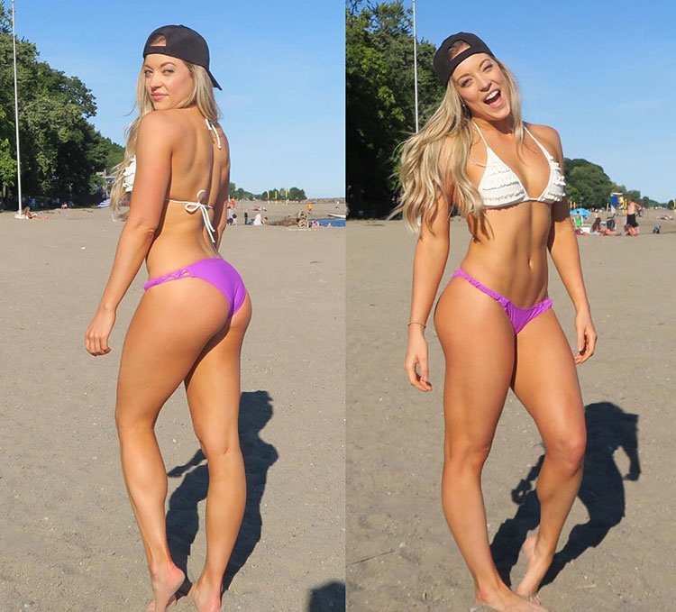 Katie Crewe on the beach looking lean and muscular