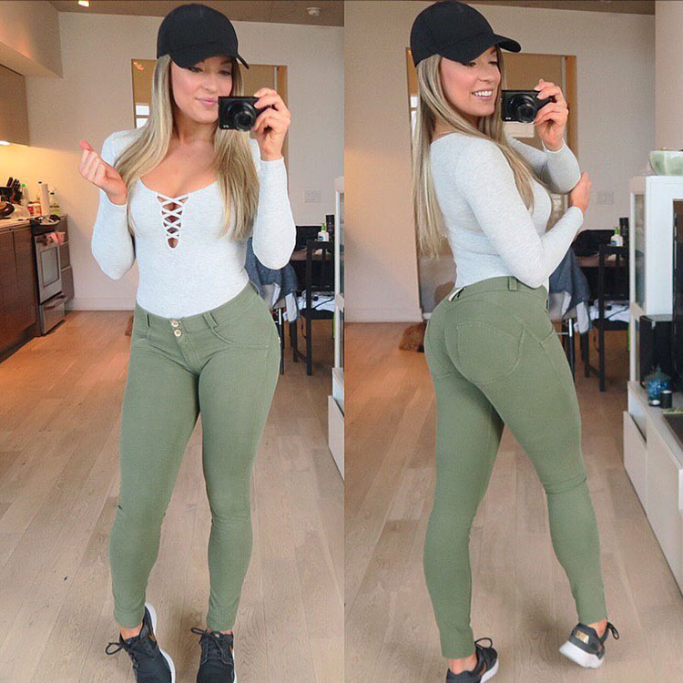 Katie Crewe in two pictures showing her large glutes in tight jeans