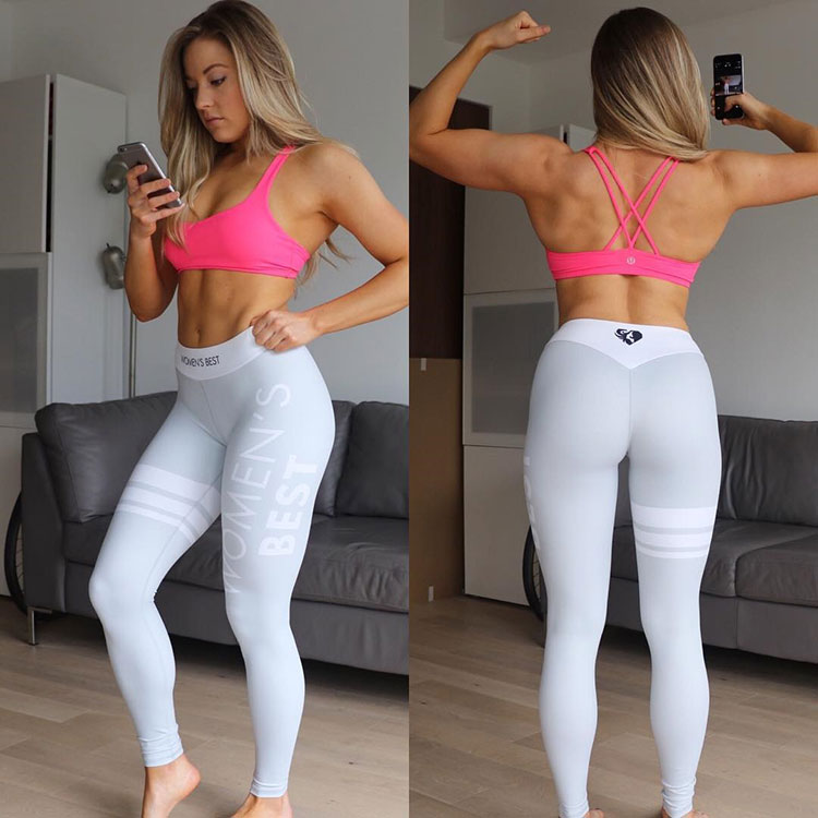 Katie Crewe wearing tight white gym trousers looking lean and healthy