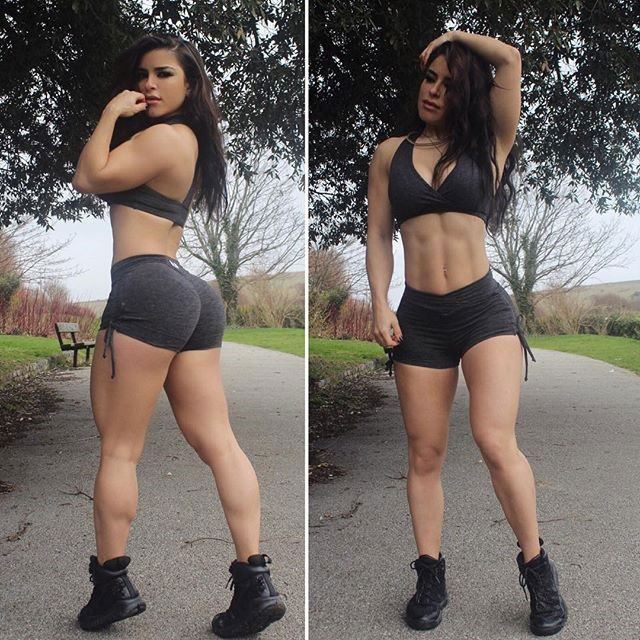 Maya Abou Rouphael posing in two pictures showing her legs and ripped abs