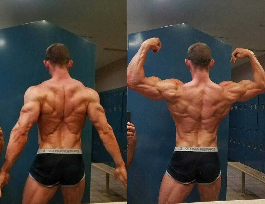 Brandon Gerdes flexing his ripped and muscular back