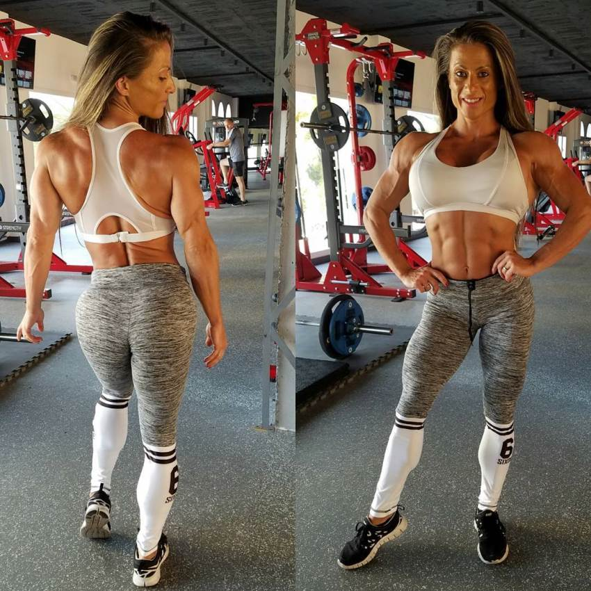 Maria Garcia in two different poses in the gym, one showing her back, and the other one showing her flexed abs