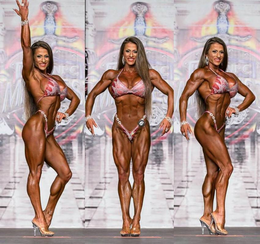 Maria Garcia in three different poses on the Figure stage, displaying her conditioned and muscular physique