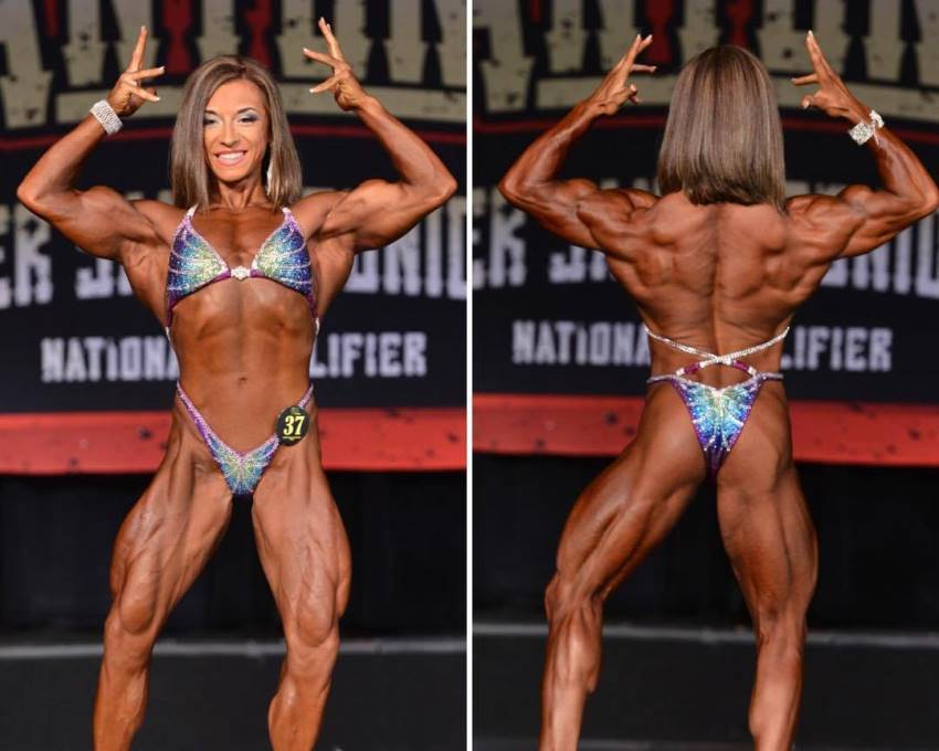 Michaela Aycock in two different poses on the stage, showing her ripped front body, as well as her back, glutes, and legs