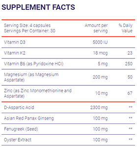 supplement facts for testofuel testosterone booster