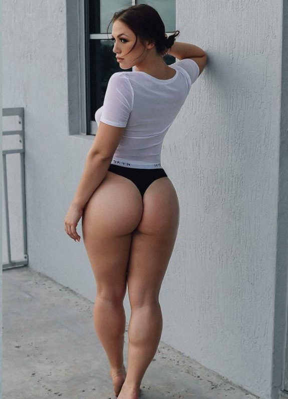 Anna Matthews showcasting her glutes for a modeling photo shoot