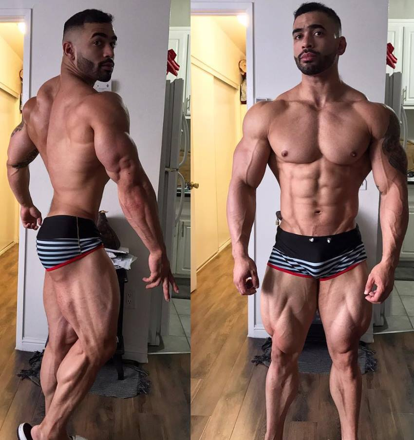 Jamie LeRoyce in two different poses, showing his ripped back, legs, chest, abs, and arms