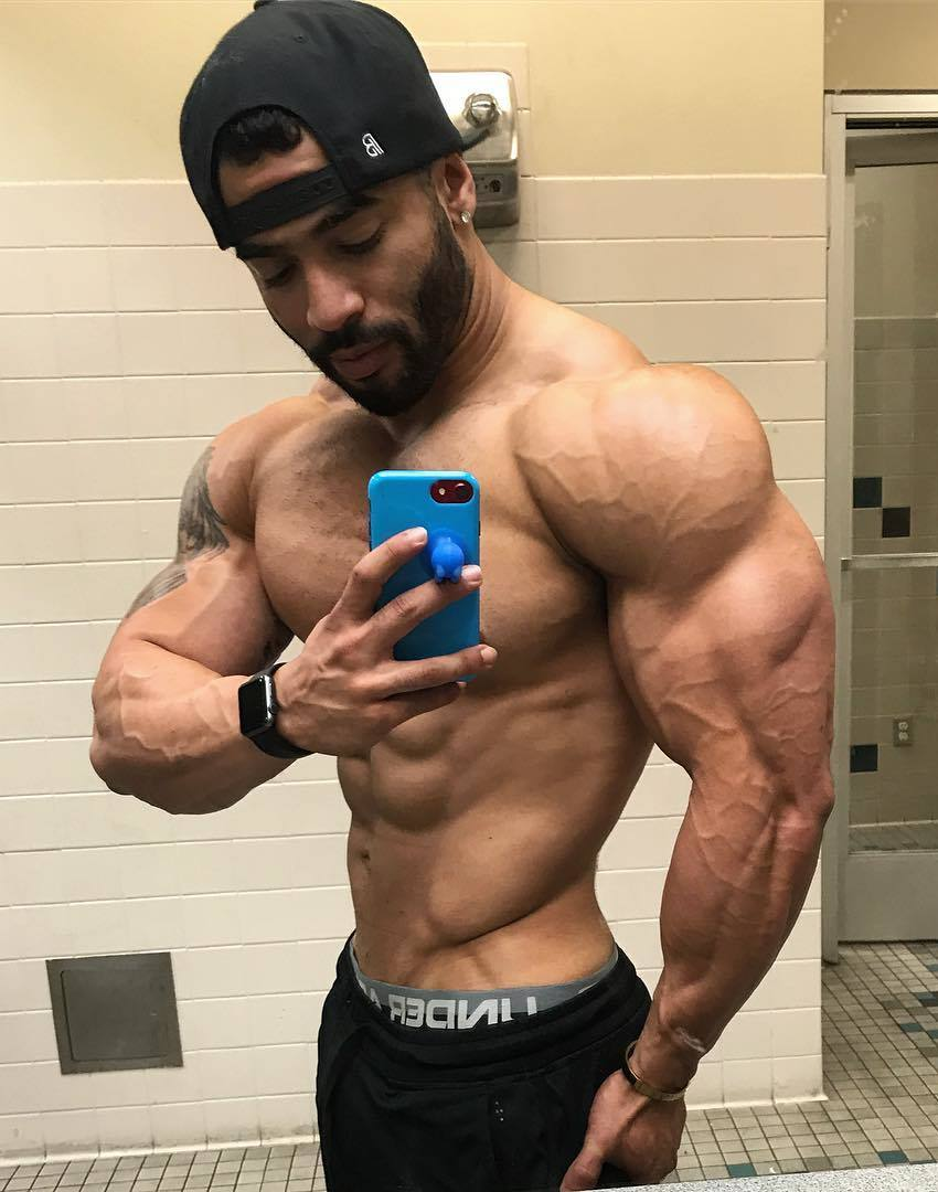 Jamie LeRoyce taking a selfie of his ripped and vascular arms and shoulders