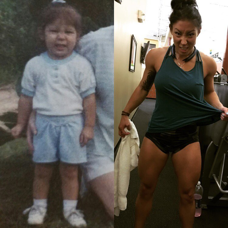 Lori Slayer's transformation from when she was a small child, to a full-grown fit and healthy woman