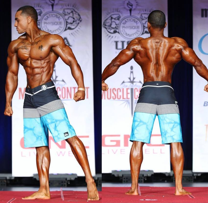 Marvin Moss III in two different poses on the Men's Physique stage, looking ripped and muscular