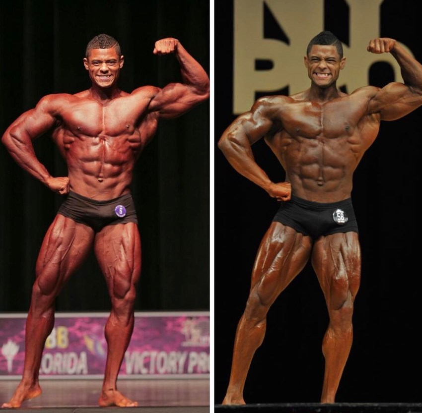 Transformation photo of Robert Galva on the stage, with the picture on the right showing improved version or Robert, having more muscle mass