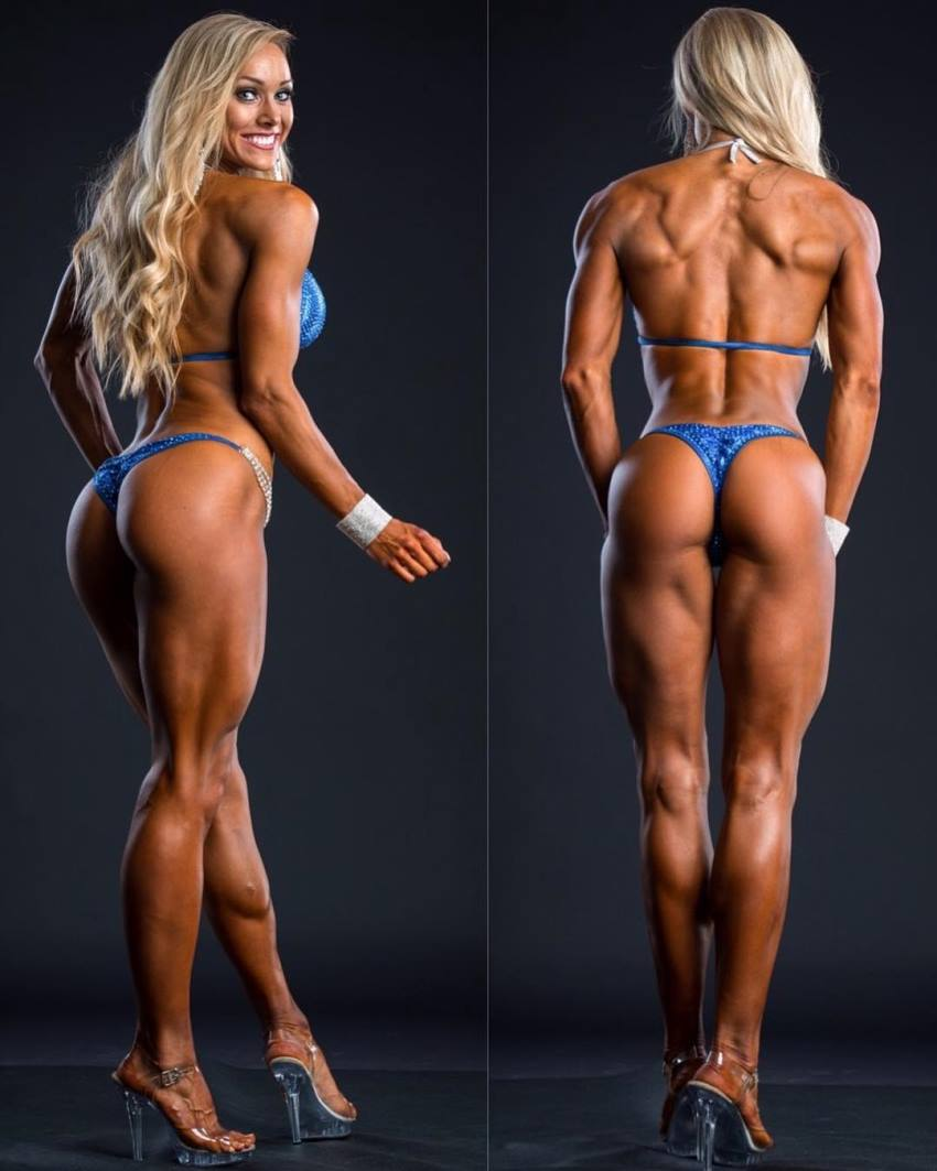 Sara Back posing for a photo shoot in a blue bikini, looking tanned and ripped