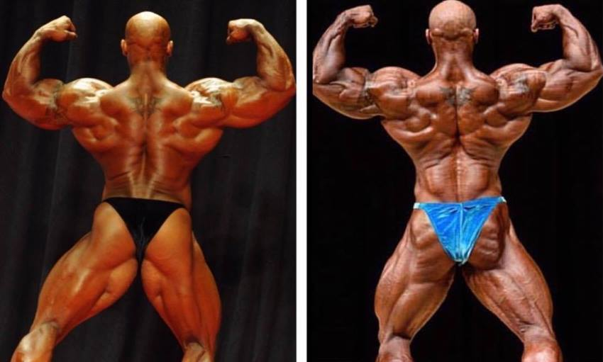 Sergio Oliva Jr transformation pic on the stage, muscular back to even more muscular and defined back