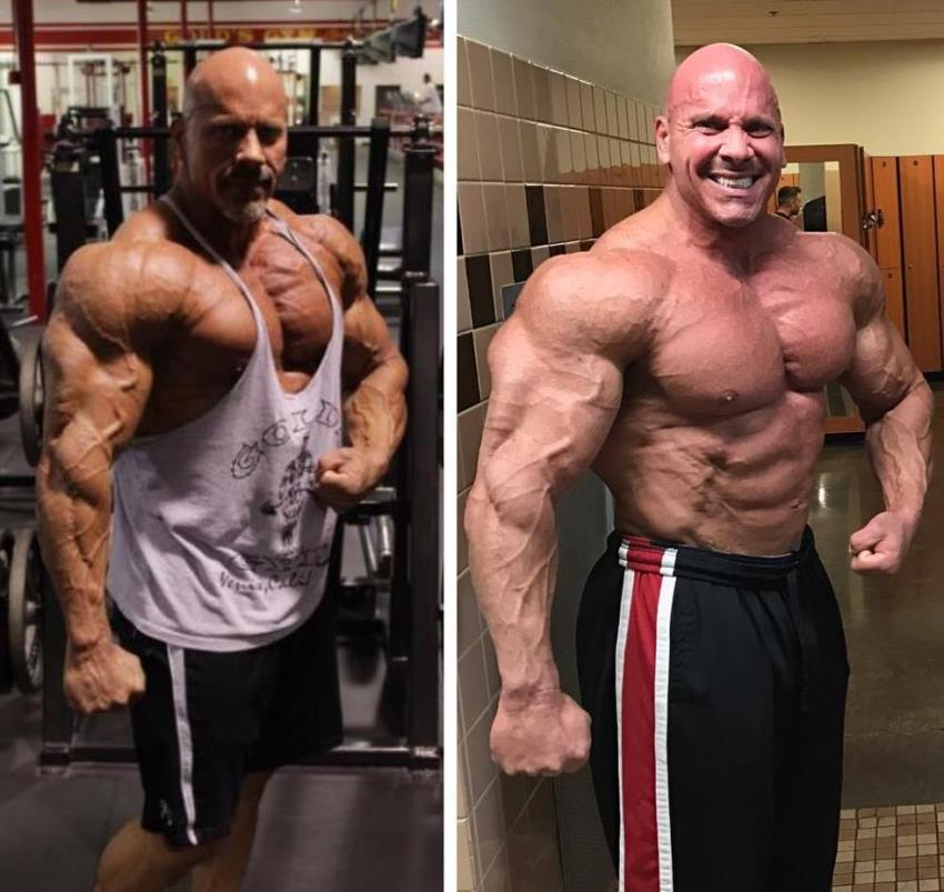 Stan Efferding in two pictures, one with a tank top, one shirtless, looking ripped and huge in both