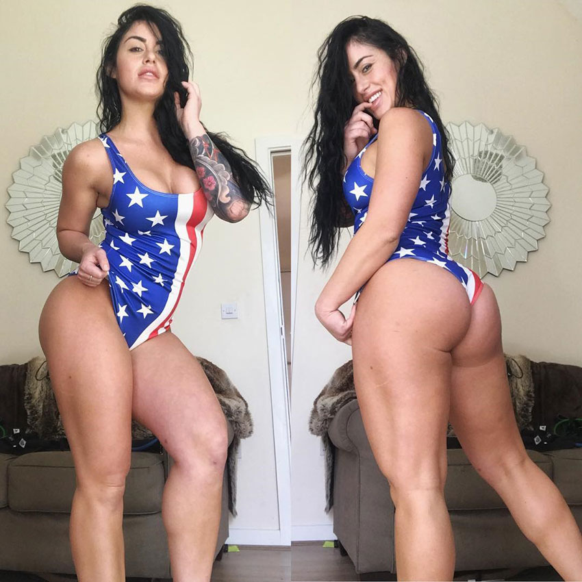 Alysia Macedo wearing an American flag swimsuit.