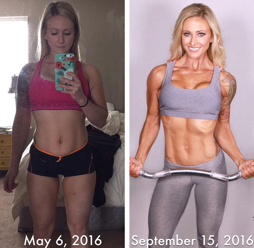 Amy Updike before her training compared to after.