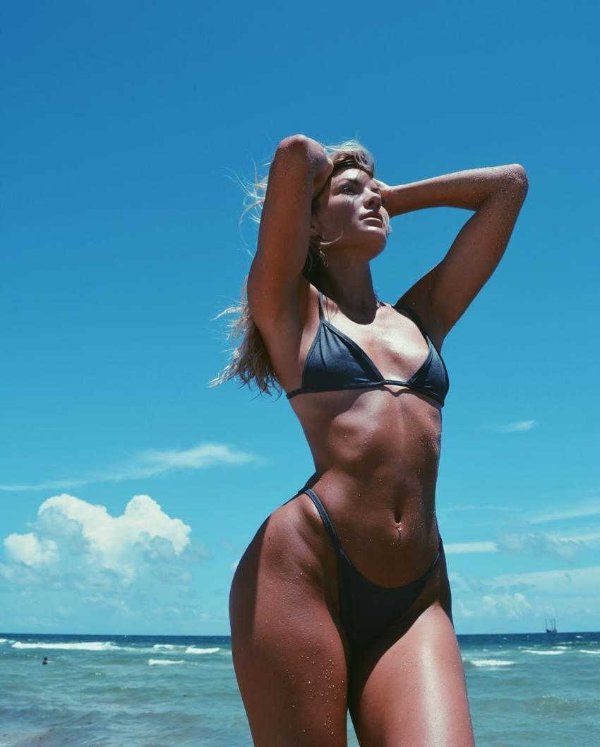 Cassandre Davis enjoying the sun on the beach