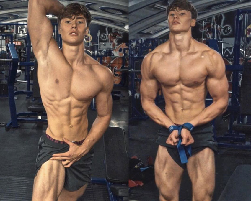 David Laid showing off his physique in the gym.