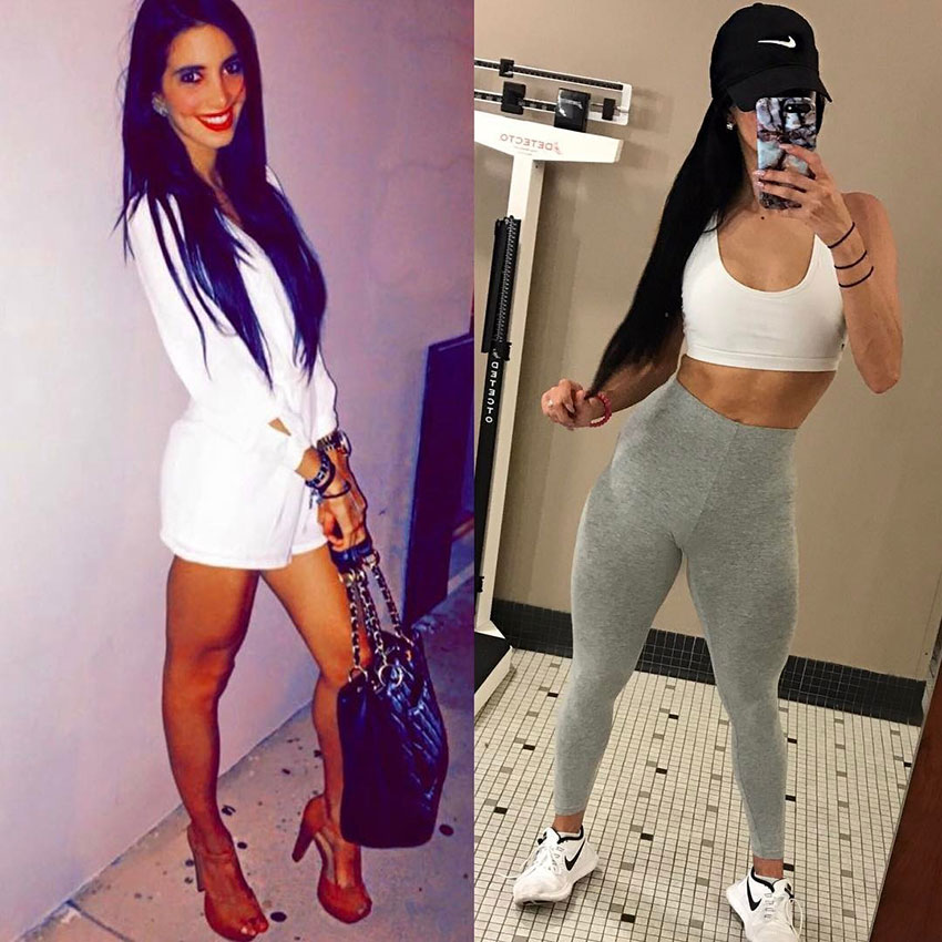 Diana Ruiz before she started her fitness journey compared to now.