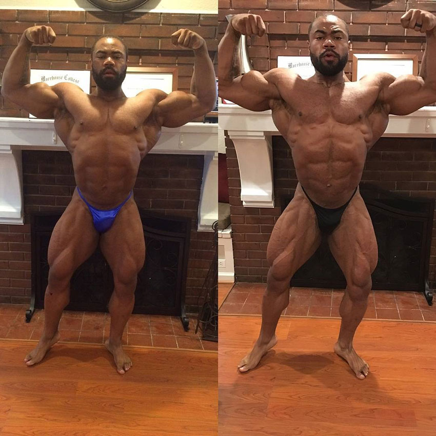 Gerald Williams before compared to after he began training for a competition.