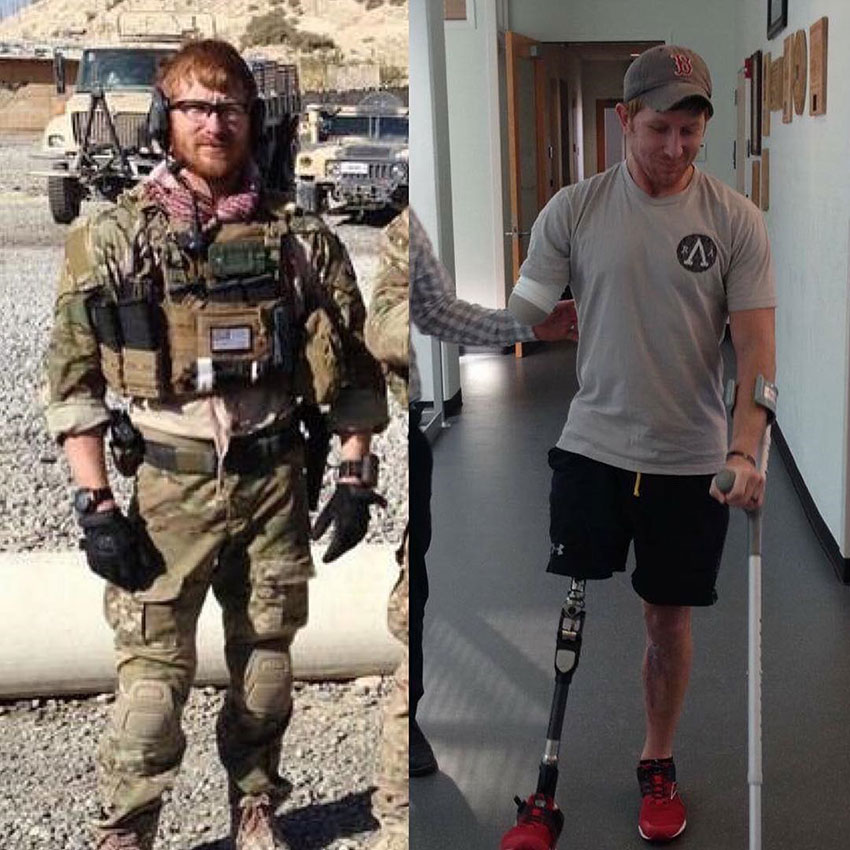 Jared Bullock in his army days compared to when he was in his recovery period.
