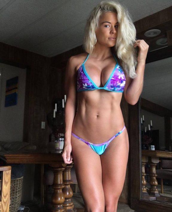 Jen Heward showing her lean physique in a bikini