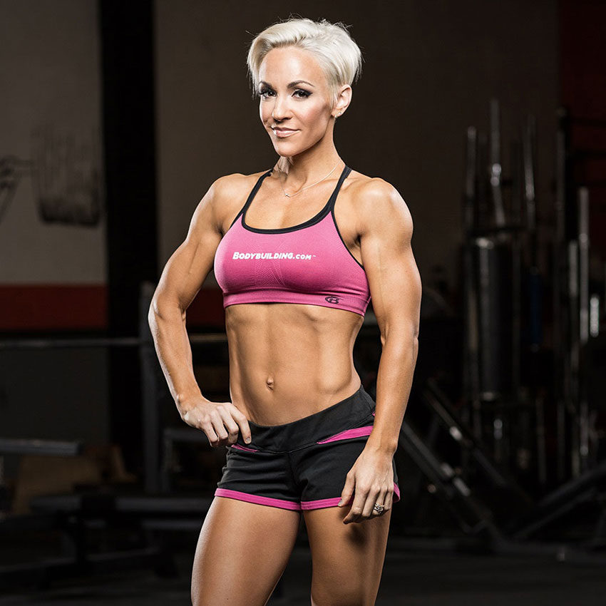 Jessie Hilgenburg posing in the gym during a photo shoot.